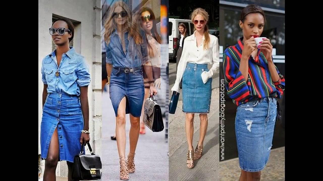 e8aa2e1474 Tendencias en moda Cómo combinar una falda de mezclilla - YouTube