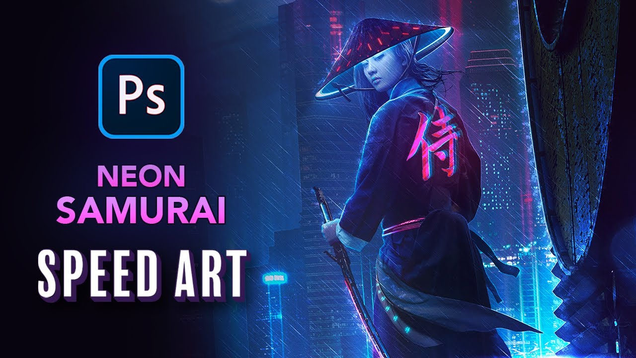 Creating a NEON SAMURAI in Photoshop - Speed Art