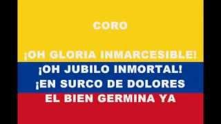 Himno Nacional de Colombia completo  cantado y con letra parte 1