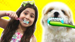 Heloísa e sua rotina com seu cachorro