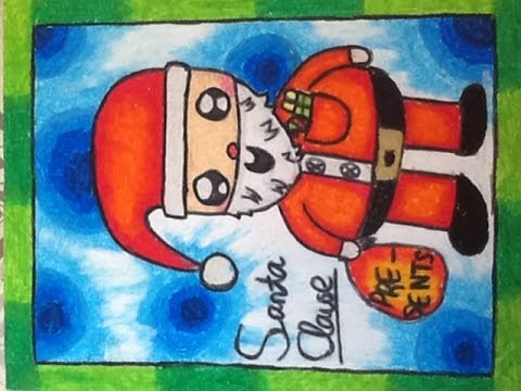 How To Draw And Colour Cartoon Santa Claus Youtube