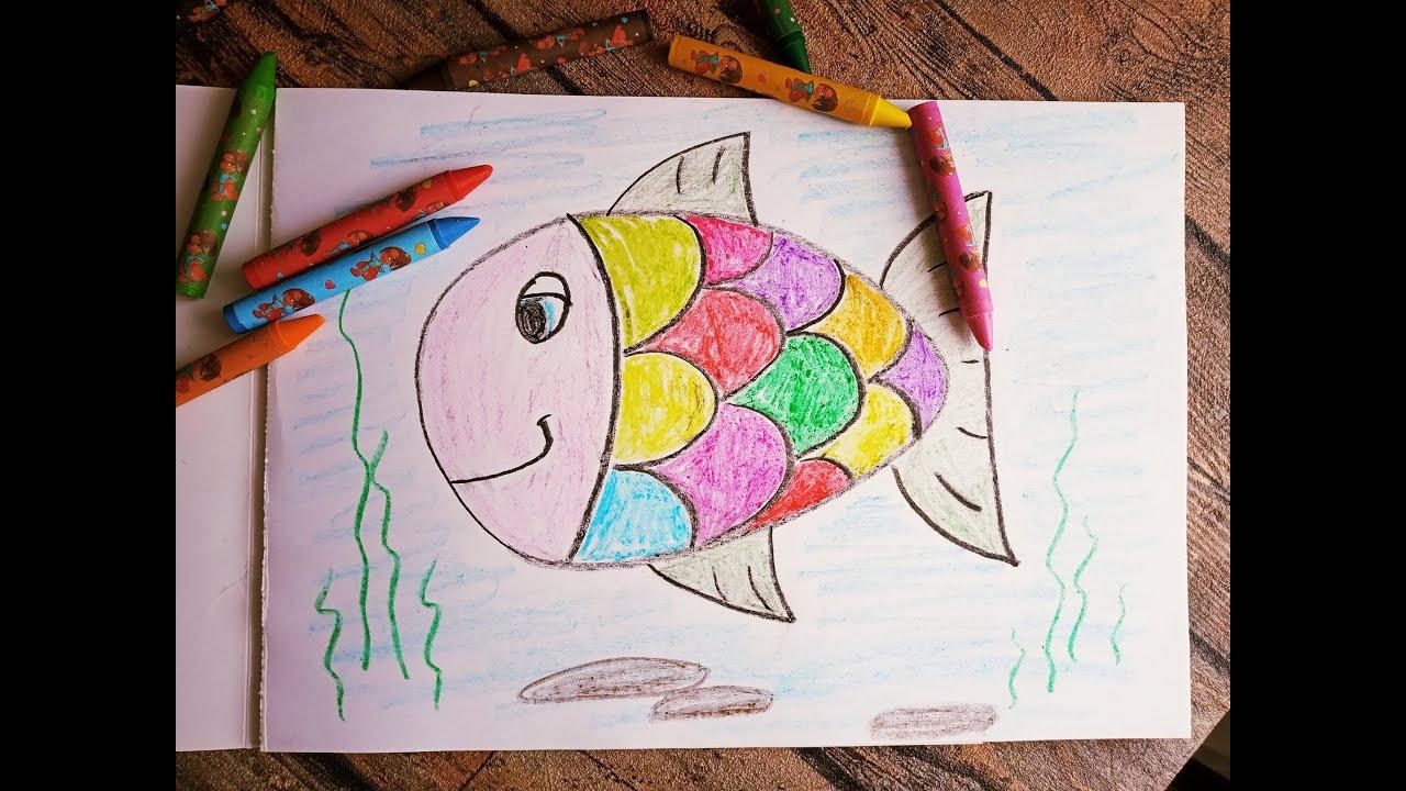 Рисуем Рыбку восковыми мелками. Рыбка рисование. Рисование ...