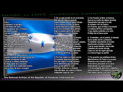 "Honduras National Anthem ""Himno Nacional de Honduras"" INSTRUMENTAL with lyrics"