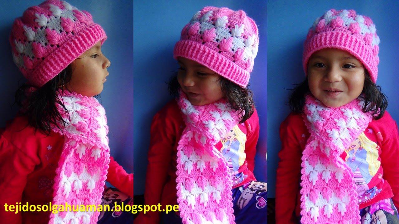 chalina o bufanda tejido a crochet para niña paso a paso en punto arbolitos. TEJIDOS OLGA HUAMAN