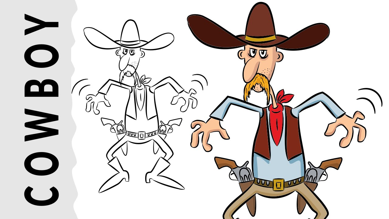 how to draw a cowboy easy step by step tutorial youtube