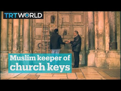 Palestinian Muslim holds the key to the Holy Sepulchre