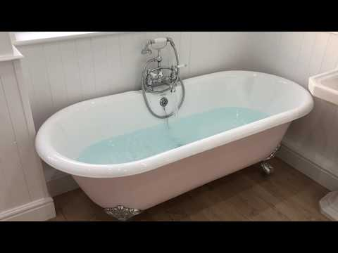Roll top bath in bedroom