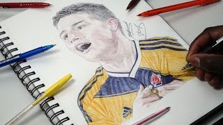 Drawing James Rodriguez - INKTOBER DAY 19 - Colombia - DeMoose Art
