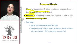 Underlying assumptions of general purpose financial statements (Going concern and accrual basis)