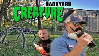 Creepy Creature From The Backyard!! Nerf Battle Against The Creature!!