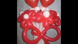Цветы из шариков (Свадебный букет и красивый бантик) Flowers from balloons