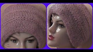 Мохеровая шапочка с рельефными полосками. видео урок.