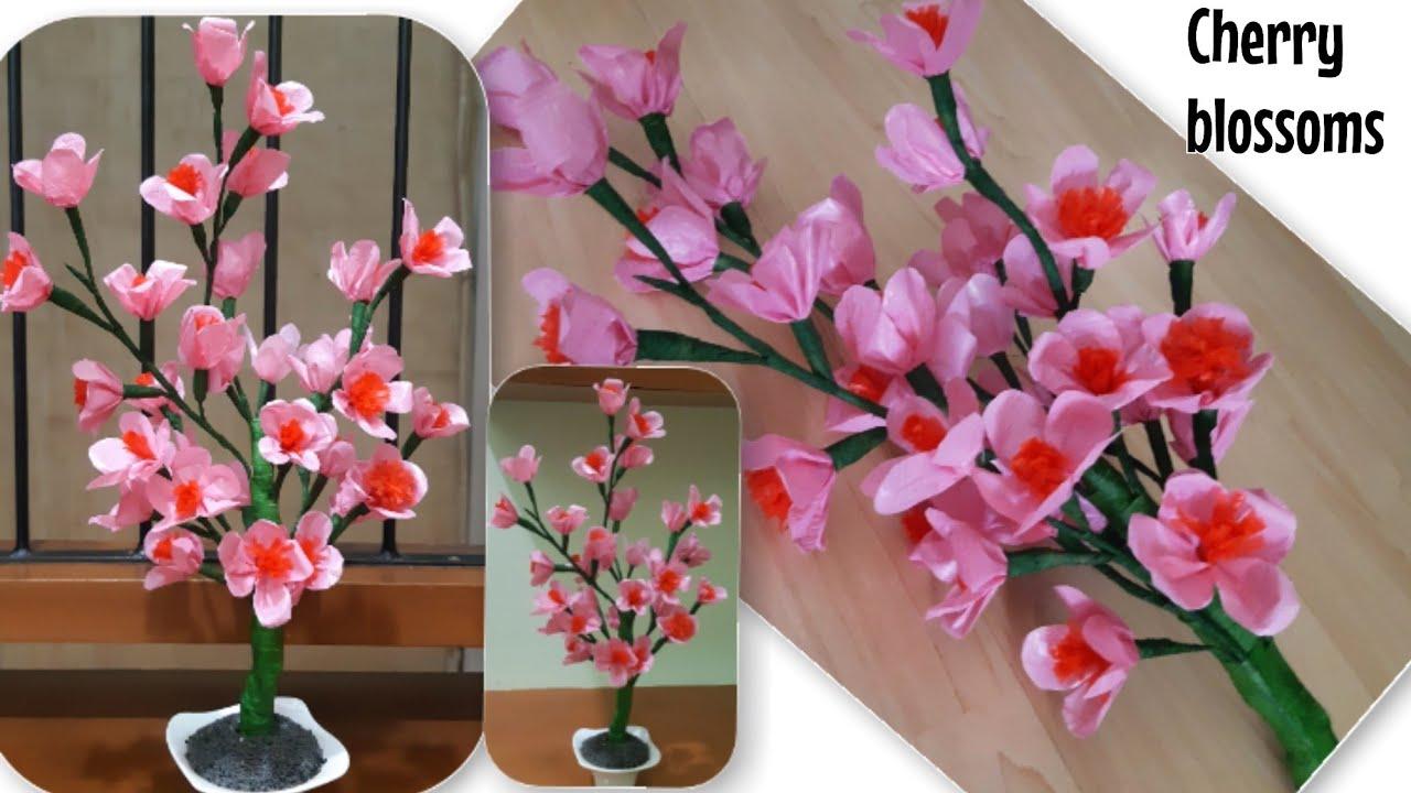 Kerajinan Bunga Sakura Dari Kresek Mudah Diy Cherry Blossoms Plastic Bag Youtube