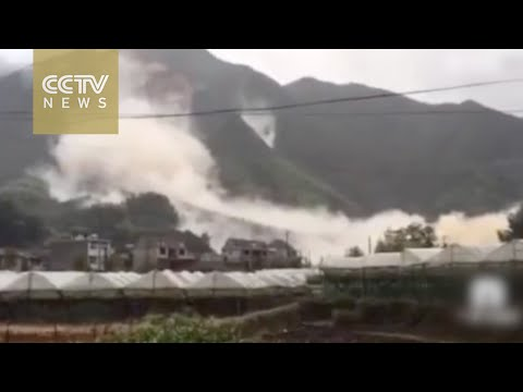 Watch: Landslide triggered by Typhoon Megi engulfs homes in Zhejiang