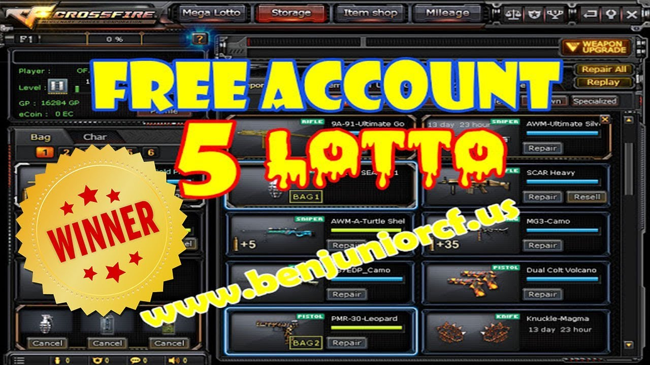 Winner of Free crossfire account 2 bar Silver w/ 5 lottos 2 ecoin char