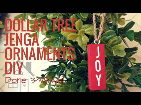 TUTORIAL: Jenga Block Ornaments DIY | Dollar Tree Craft