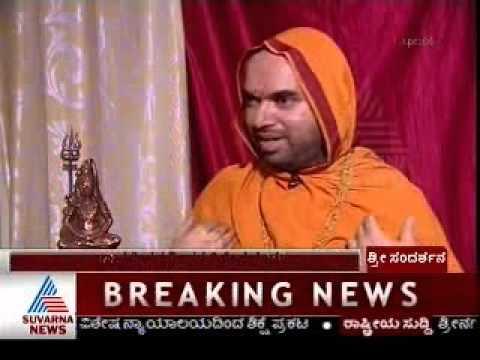 Dr. Manish Mokshagundam interviews Sri Sri Raghaveshwara Bharathi Swamiji for Suvarna News  - Part 1