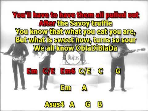 Savoy Truffle Beatles best karaoke instrumental lyrics chords