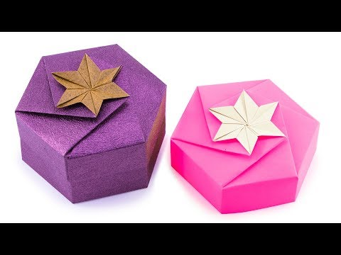 Origami Hexagonal Gift Box Tutorial - 1 Sheet DIY - Paper Kawaii
