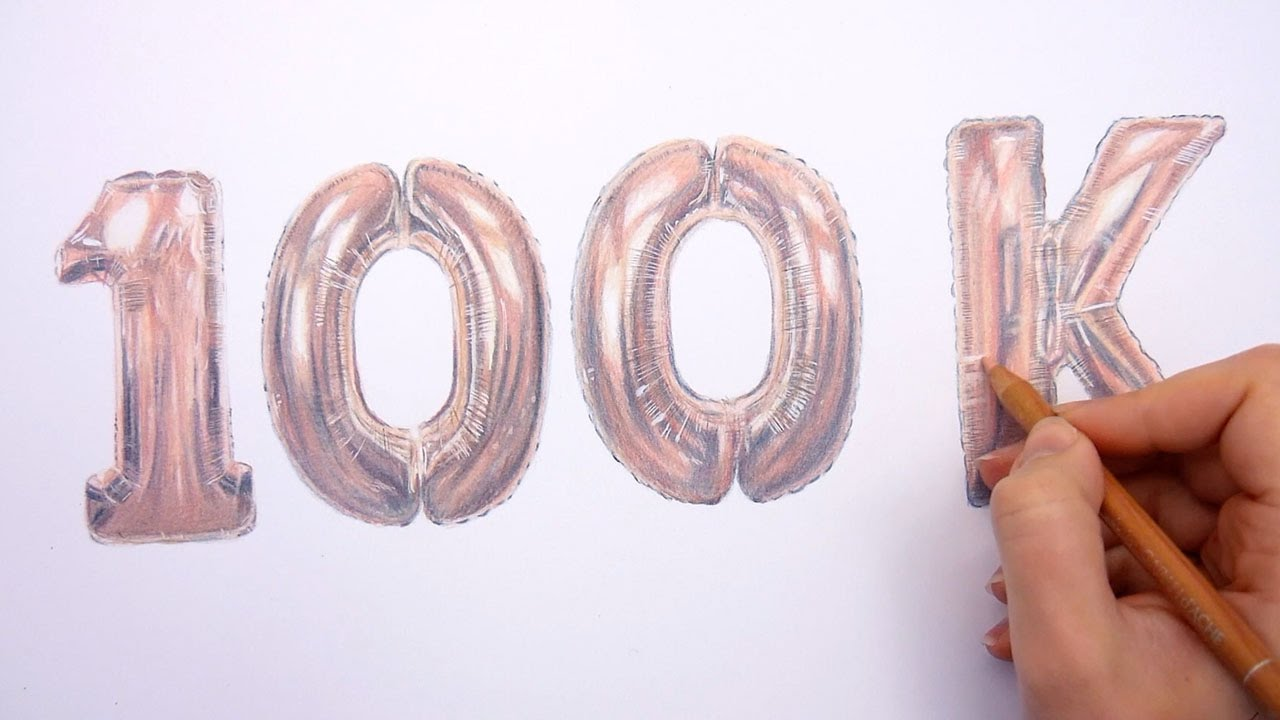 100k Subscribers Drawing Rose Gold Balloons With Colored Pencils Emmy Kalia