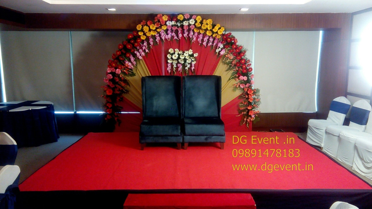 U Shaped Stage Background Flower Decoration Ideas For Ring Ceremony 09891478183