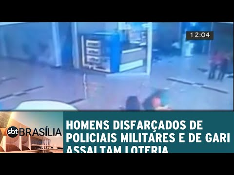 Homens disfarçados de policiais militares e de gari assaltam loteria | SBT Brasília 10/07/2018