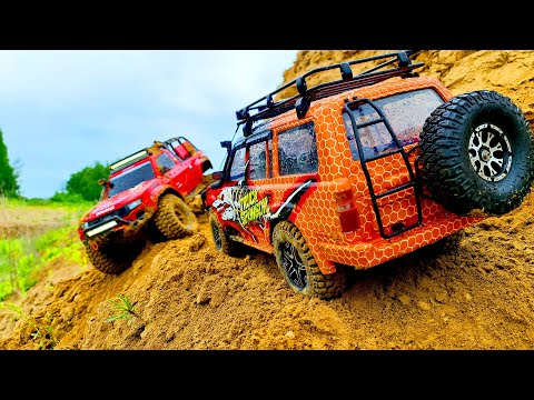 RC CARS Cliff Drops Extreme Adventures 4x4 - Toyota Land Cruiser and Traxxas TRX Sport