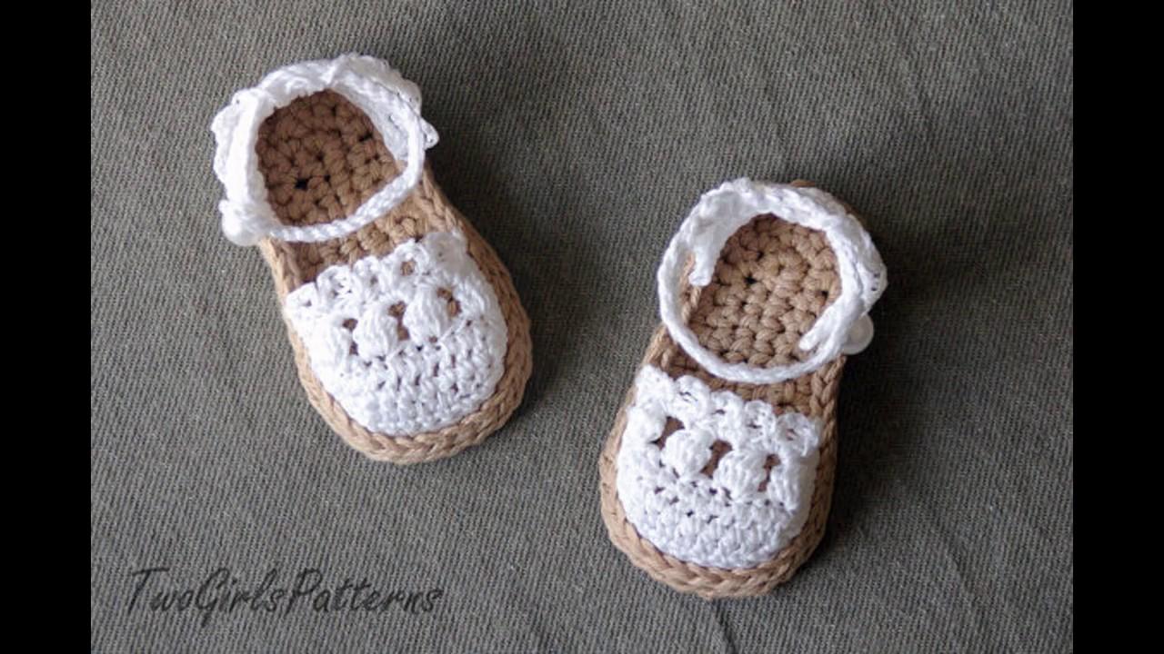 88f06ebd9 Sandalias de crochet de bebe - YouTube