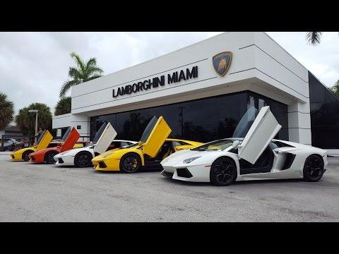 Lamborghini Aventador Gallardo Huracan drive by Supercar Paradise at Lambo Home Lamborghini Miami