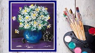 Как нарисовать букет ромашек! #Dari_Art(Ромашки, символ семьи! Давайте вместе создадим картину с ромашками, и еще добавим спящего котика) это же..., 2015-07-09T13:23:56.000Z)