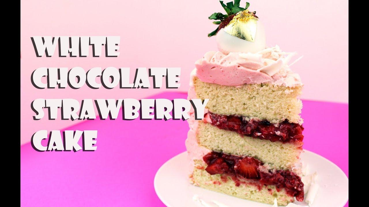 White Chocolate Strawberry Cake    Gretchen\'s Bakery - YouTube