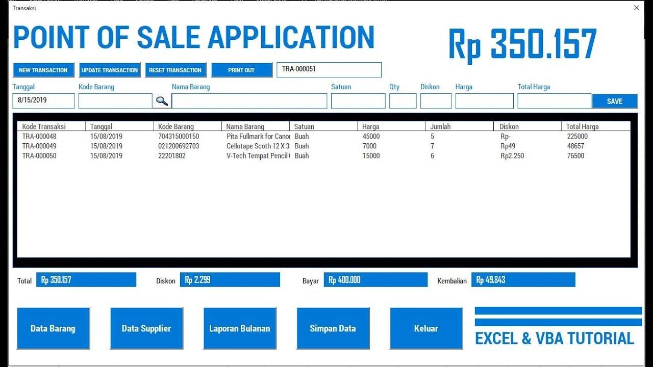 Aplikasi Kasir Excel Vba