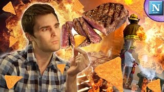 WHY DORITOS ARE FLAMMABLE: Cooking A Steak With Just Doritos