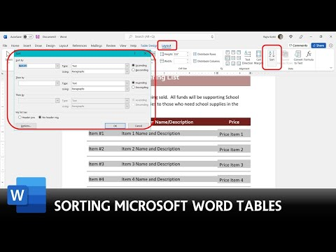 How to Sort A Table in Microsoft Word 2016 Tutorial | The Teacher