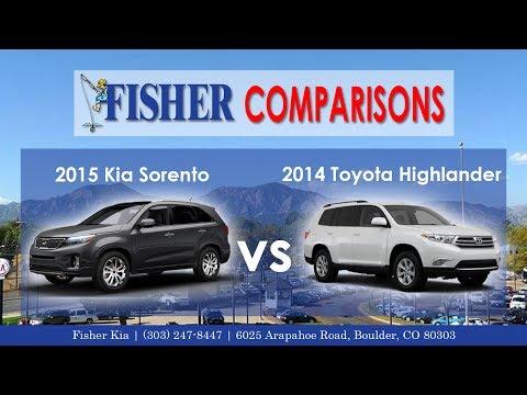 2015 Kia Sorento vs. 2014 Toyota Highlander | Vehicle Comparison | Fisher Honda in Boulder, CO