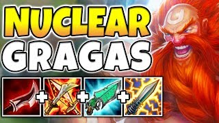NUCLEAR SMASH GRAGAS MID! INSTANT-KILL ENEMIES WITH ONE AUTO ATTACK! (BROKEN) - League of legends