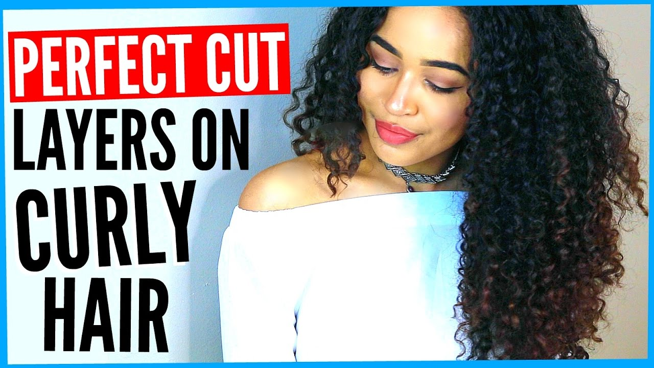 diy layered haircut on curly hair! how to cut curly hair into layers