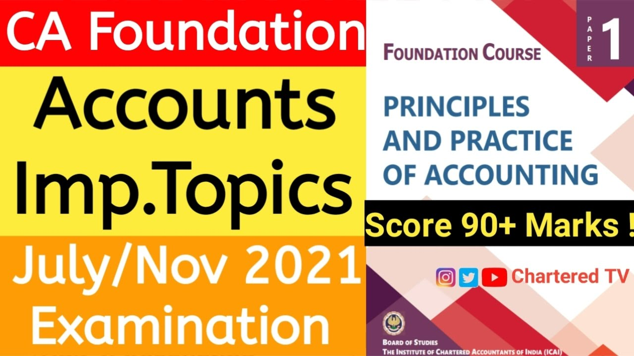 CA Foundation Accounts Important Chapterwise Topics For July & Nov 2021 Exams   CA Foundation Exams