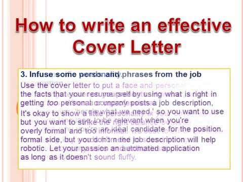 How To Write An Effective Cover Letter  Youtube