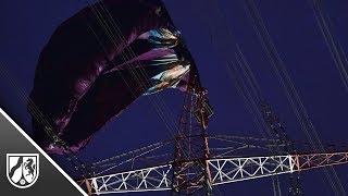 A42 bei Bottrop: Heißluftballon verfängt sich in Strommast