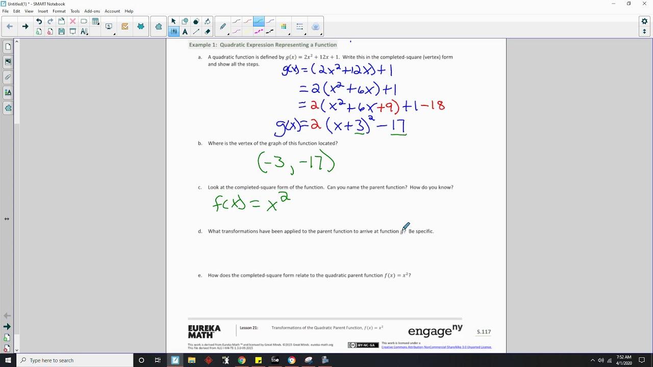 Algebra 1 Module 4 Lesson 21 Video Youtube