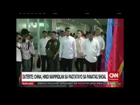 Duterte: China, hindi mapipigilan sa pagtatayo sa Panatag Shoal