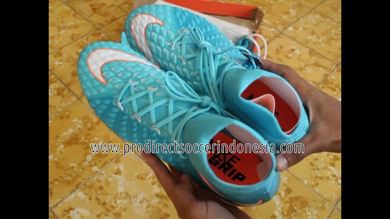 fe10baf16f7 Sepatu Bola Nike Womens Hypervenom Phantom III DF FG Polarized Blue White  881545 414 Original