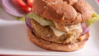 Pinto Bean And Quinoa Veggie Burger With Romesco Mayo On Sesame Wheat Bun