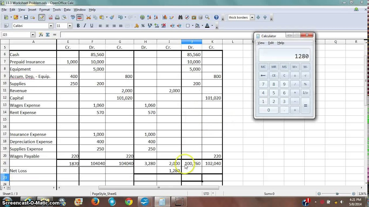 Worksheet 4 Income Statement Balance Sheet Columns with a Loss – Income Statement Worksheet