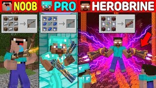 Minecraft Battle: NOOB vs PRO vs HEROBRINE: DUAL SUPER GUN CRAFTING CHALLENGE in Minecraft Animation