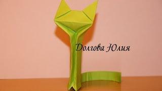 Оригами из бумаги для начинающих. Кошка  \\  Origami paper for beginners. cat