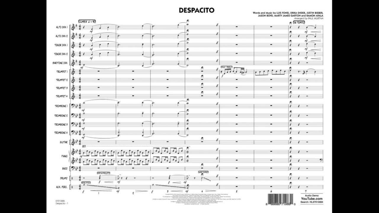 Despacito Arranged By Paul Murtha