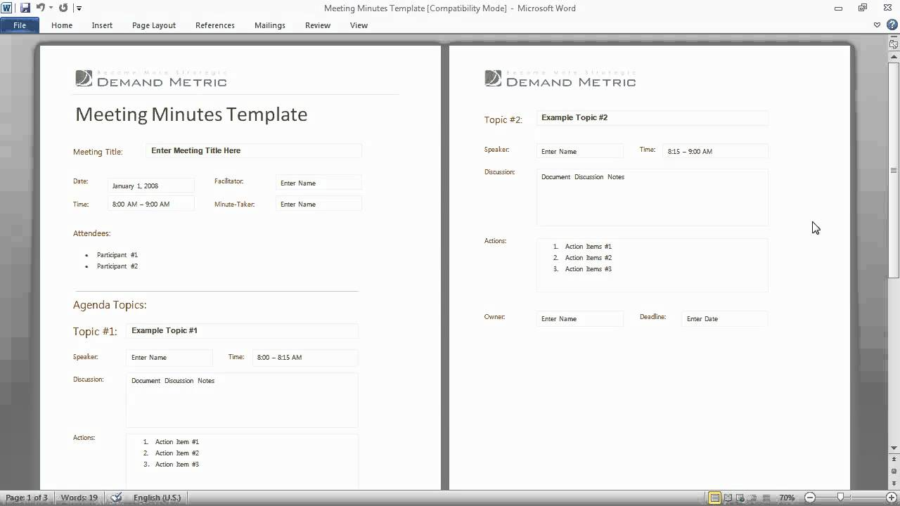 Meeting Minutes Template YouTube – Sample Meeting Minutes Document