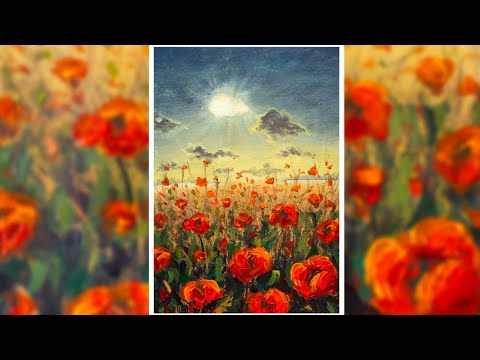 Poppy field at sunset. How to paint summer landscape 🎨 ACRYLIC paintig! Time Lapse Speed Art DEMO